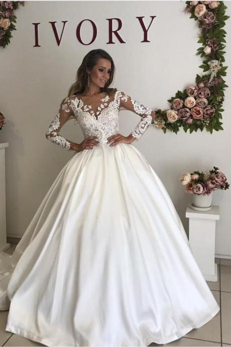 Long Sleeve Wedding Dress,Ball Gown Wedding Dress,Bridal Dresses,Bridal Gown,Wedding Dresses