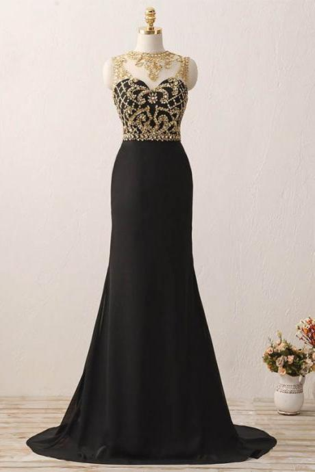 Black Chiffon Long Prom Dresses, Gold Crystals Evening Gown,Long Evening Dress , Party Dresses, Long Prom Dress,Graduation Dress