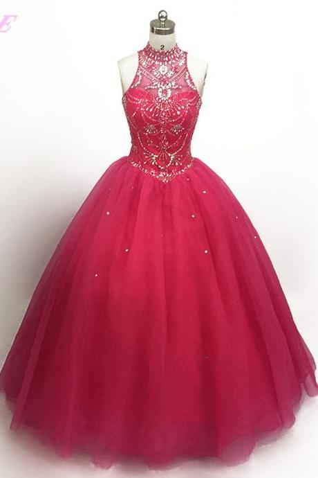 Real Photos Super Pink Crystal Beaded Quinceanera Gowns Dresses Ball Gown Sweetheart Tulle Lace-up Sweet 16 Dress For 15 Years,Long Evening Dress , Party Dresses, Long Prom Dress,Graduation Dress