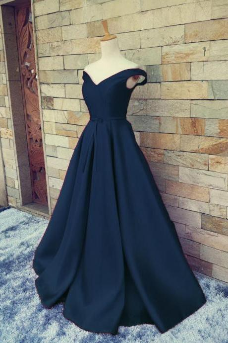 Elegant Prom Dresses,Prom Gown,Off the Shoulder Dresses,Satin Prom Dresses,Lace-up Prom Dress,Navy Blue Prom Dress,Long Evening Dress , Party Dresses, Long Prom Dress,Graduation Dress