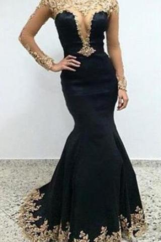 Sexy Black Lace Long Sleeves Long Mermaid Prom Dresses Evening Dresses