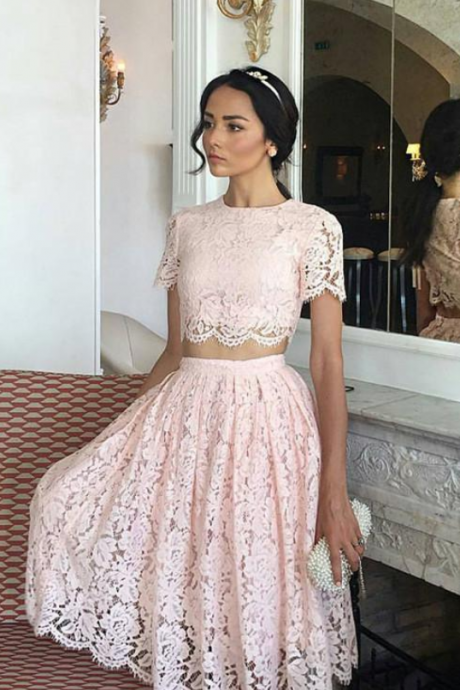 Pretty Pink Lace Two Piece Prom Dresses Short Homecoming Dresses