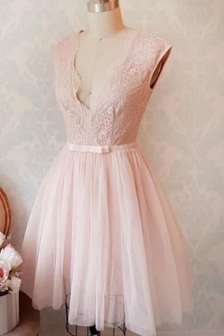 Elegant Prom Dress,Sleeveless Pink Tulle Prom Gown,Lace Party Dress,Short Prom Dresses