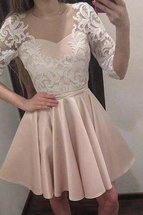 Charming Party Dresses, Elegant Prom Dress, Half Sleeve Prom Gowns