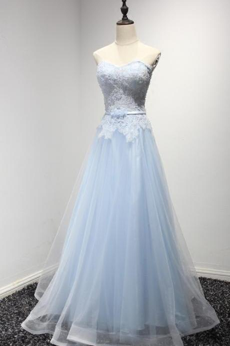 Light Blue Prom Dresses,Lace Tulle Prom Dresses,Long Prom Dress,Elegant Prom Gowns,Princess Prom Dresses,Modest Evening Dresses Cute Dresses