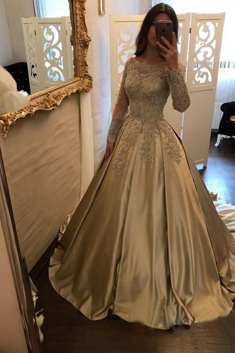 Glamorous Satin Scoop Neckline Ball Gown Formal Dresses With Lace Appliques, Boat Neck Lace Corset Satin Ball Gown Wedding Dress, Bridal Gowns Long Sleeves, Champagne Wedding Dresses, Long Sleeves Wedding Gowns, Ball Gown