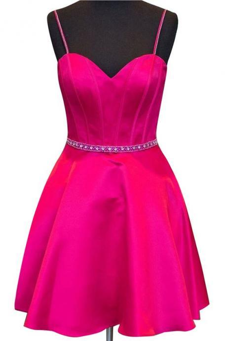 Simple Sweetheart Sleeveless Homecoming Dresses,Short Satin Rose Homecoming Dress with Spaghetti Straps Beading Waist