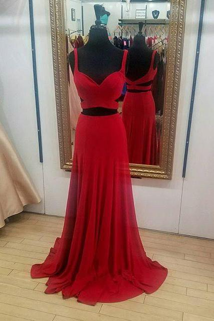 Special Two Piece Mermaid Red Long Prom Dress, Chiffon Evening Gowns,Halter Beaded Charming Dress