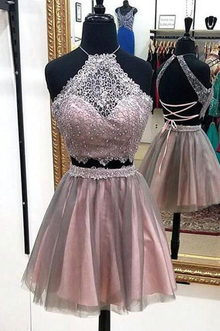 Sexy Two Piece Halter Party Dresses,Above-knee Prom Dress with Beading Lace