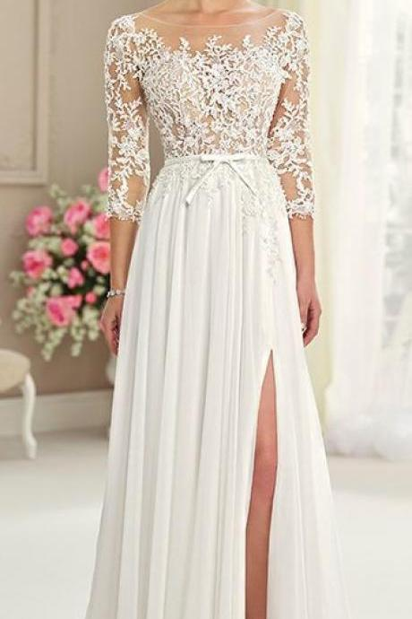 floor length weeding dress,elegant bride dress with lace sleeves