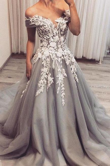 off shoulder prom dress,party dress, lace applique long prom dress, blue evening dress