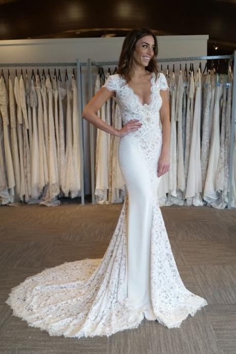 Elegant Cap Sleeve Wedding Dress,Mermaid V-Neck Lace Applique Wedding Dresses,Lace Evening Party Dress