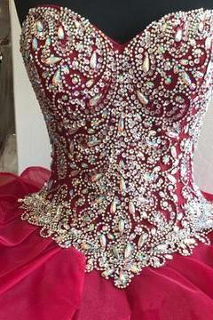 Gorgeous Crystal Beaded Bodice Corset Organza Ruffles Quinceanera Dresses Ball Gowns