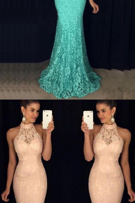 Mermaid Style High Neck Open Back Sweep Train Turquoise Lace Prom Dress,Lace Evening Party Dress
