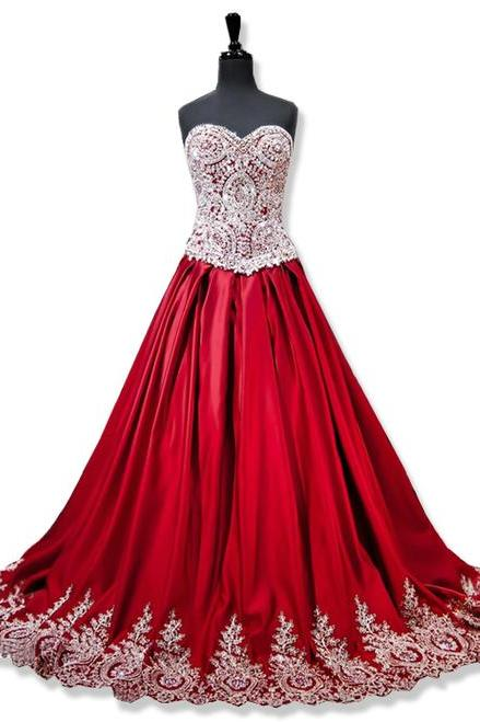 Sweetheart Gold Lace Appliques Ball Gowns Red Prom Dress, Evening Dresses, Floor-length Evening Dresses,Side Slit Prom Dresses