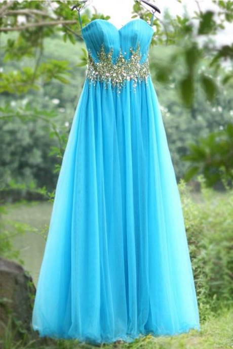 Blue Crystals Prom Dress,Spaghetti Straps Prom Dresses,Sweetheart Dresses,Long Party Dress,Lace up Dresses