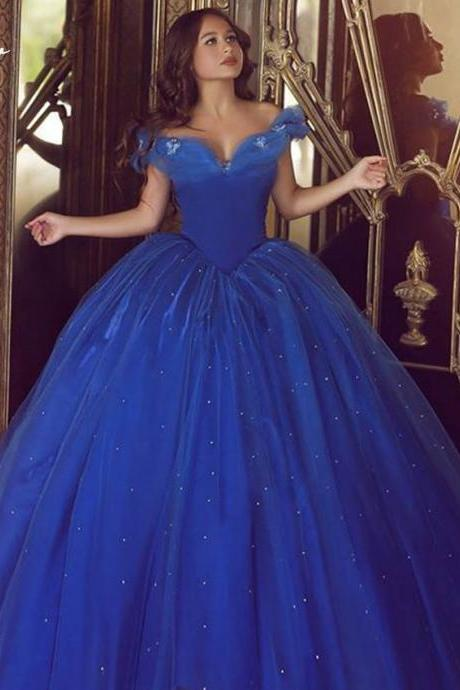 Classic Cinderella Dress ,Quinceanera Dresses ,Ball Gown ,Royal Blue Prom Dress,Off the Shoulder Dresses,Sweet 16 Dress,Dresses Party Evening