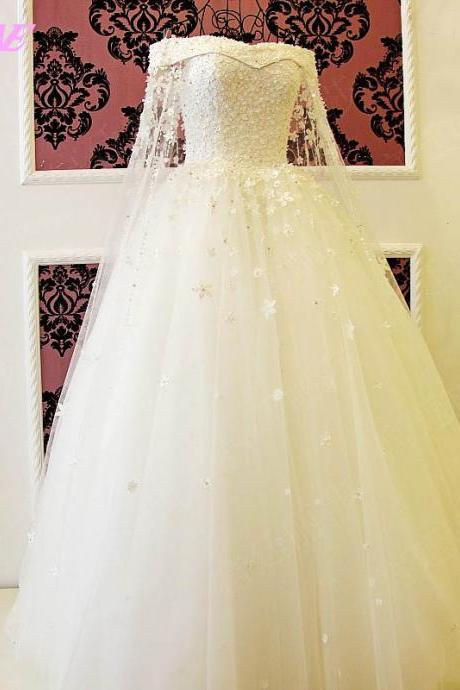 Ivory Wedding Dress,Bridal Dresses,Ball Gown Wedding Dresses,Off the Shoulder Wedding Dress,Bridal Gown
