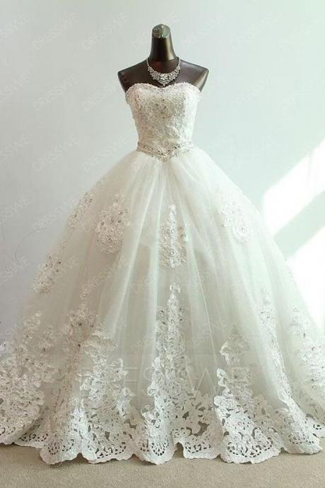 Strapless A Line Wedding Dress with Beads,Lace Bridal Dress,Wedding Party Dresses