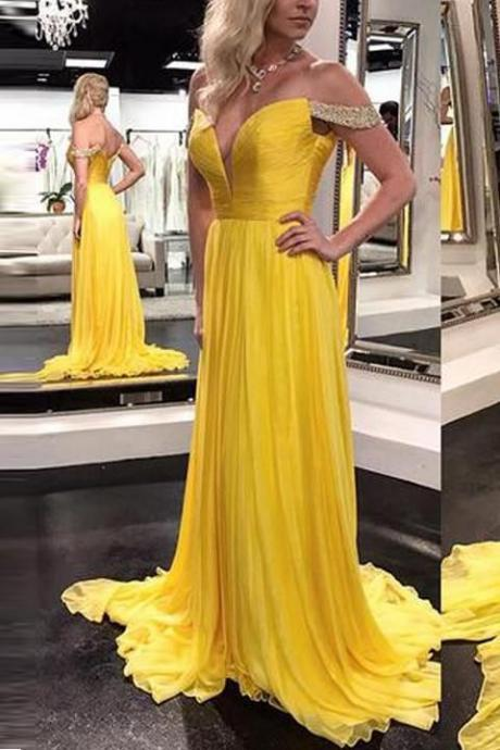 Yellow V Neck Prom Dress,Off the Shoulder Yellow Prom Dress, Evening Prom Gowns, Graduation Dress, Floor-length Evening Dresses