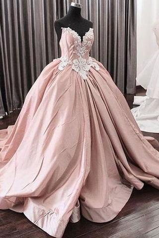 A-line strapless dusty pink long prom dress, Prom Dress, Floor-length Evening Dresses,Side Slit Prom Dresses