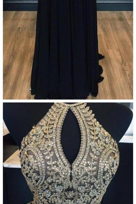 Halter Gold Lace Appliqued Black Prom Dress,Chiffon Long Prom Dress,Senior Prom Dress