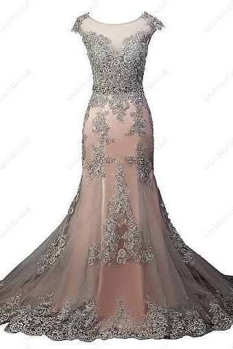 Chic Tulle Scoop Neckline Prom Dress,See-through Natural Waistline Prom Dresses,Mermaid Evening Dress With Beaded Lace Appliques, Cap Sleeve Prom Dress, Floor-length Evening Dresses,Side Slit Prom Dresses