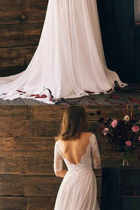 Bateau Lace Chiffon Wedding Dresses,A-line Wedding Dress with Open Back ,Mid-Length Sleeves Bridal Dresses,Evening Dress, long prom dress, graduation dress, formal evening dress