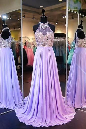 A Line Cowl Neck Sleeveless Open Back Long Prom Dress with Beading,Long Evening Dress,Formal Gown