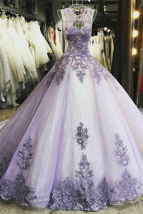 Luxury Lilac Evening Dresses,Ball Gown Women Formal Party Dresses ,Sheer Neck Lace Appliques Quinceanera Dresses,Court Train Quinceanera Dress, Wedding Gowns,Long Evening Dress,Formal Gown
