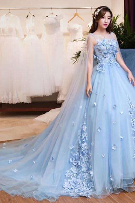Light Blue Elegant Wedding Dresses, Sheer Scoop Neck Long Wedding Dress,Tulle Bride Wedding Gowns ,Lace Appliques Flowers Wedding Dress,Long Evening Dress,Formal Gown