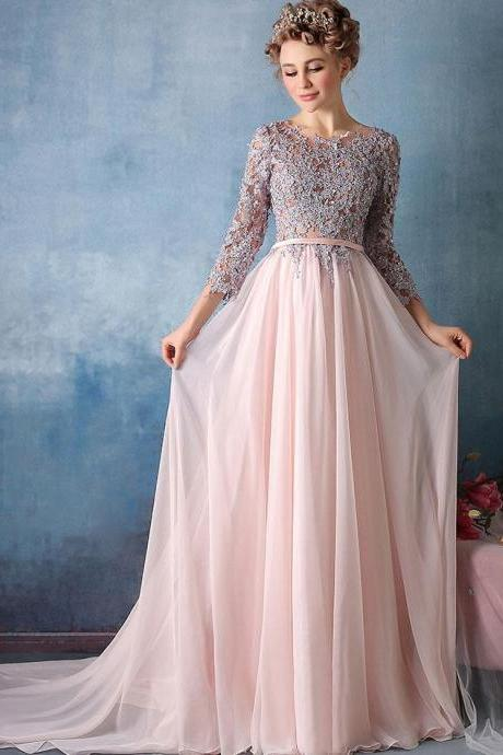 A-line Pink Chiffon Prom Dress,Silver Lace Appliqued Long Prom Dresses with 3/4 Sleeves,Long Evening Dress,Formal Gown