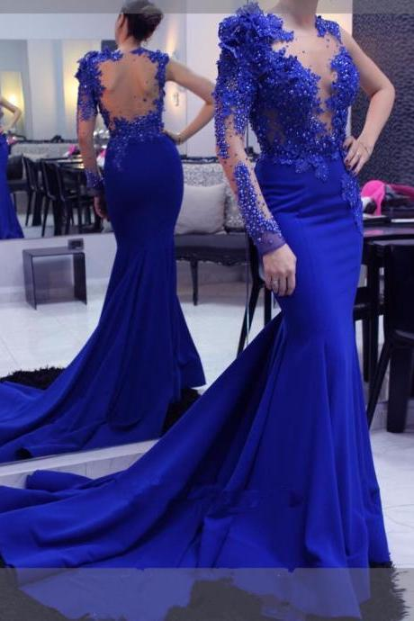 Elegant Long Evening Dress,Mermaid Lace Royal Blue Formal Evening Dresses, Arabic Evening Gowns, Long Sleeve Beaded Prom Gowns