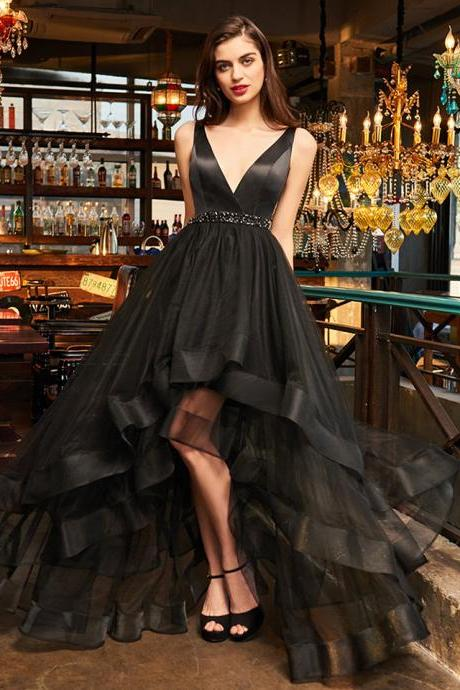 black sample prom dress elegant v neck zipper up a line beading wedding party formal dress cocktail dresses,Long Evening Dress,Formal Gown