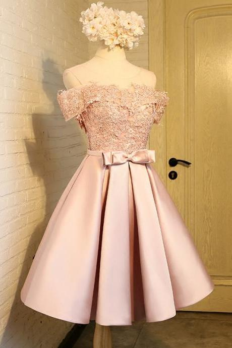 Pink Short Lace Homecoming Dresses, 8th Grade Prom Dresses, Junior High Cute Graduation Formal Dresses