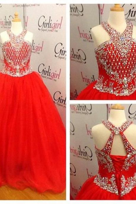 Red Little Girls Pageant Dresses With Beaded Crystals Halter Floor Length Flower Girl Dresses With Corset Back,Long Evening Dress,Formal Gown