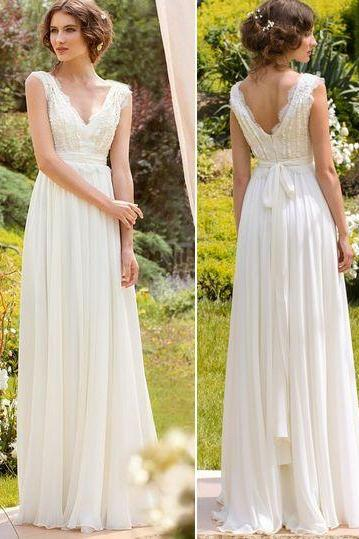 Long White Prom Gown,v-nick prom dress,long prom dress