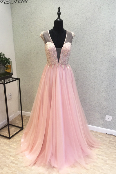 Pink chiffon see through back long senior prom dress, V neck bridesmaid dress,Long Evening Dress,Formal Gown