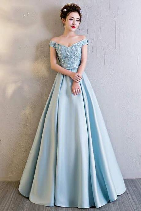 Bule Satin Prom Dresses,Evening Dress, Evening Dresses,Prom Gowns, Formal Women Dress