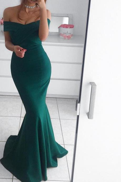 Hunter Green Mermaid Evening Dresses Long Off Shoulder ,prom dress