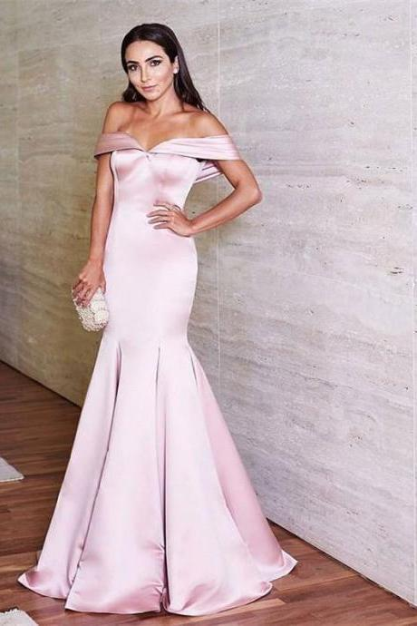 Off the Shoulder Satin Prom Dress,Mermaid Prom Evening Dresses Long ,Long Evening Dress,Formal Gown