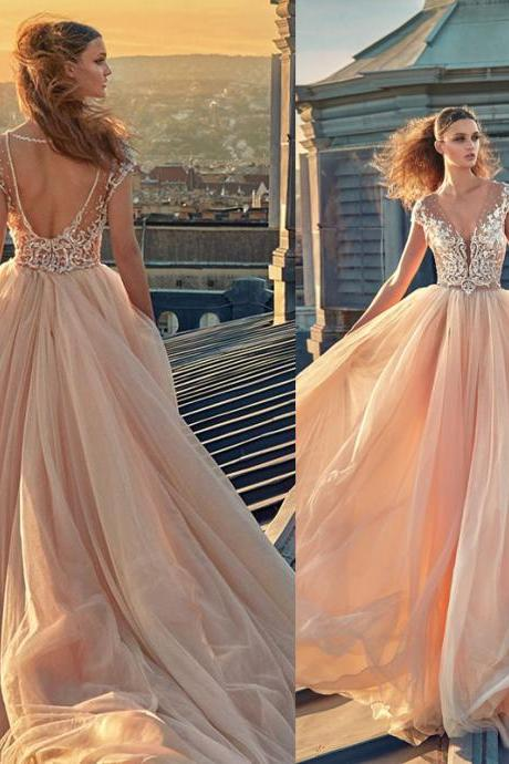 Champagne Tulle Formal Dress,Evening Dresses ,V-neck Cap Sleeves Beads Prom Dresses,Puffy A-Line Prom Dress