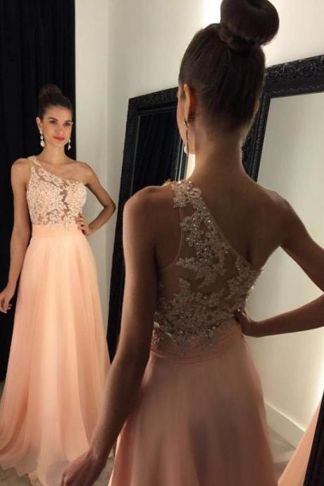 Elegant One Shoulder Chiffon Long Prom Dresses Lace Appliques See Though Prom Dresses Evening Dresses Graduation Dresses