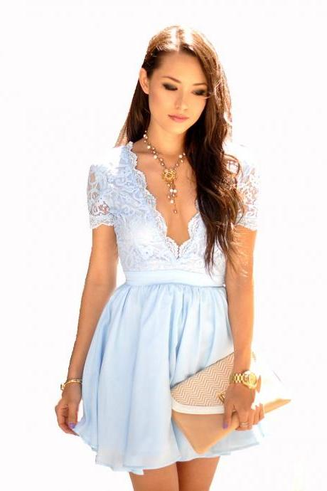 New Sexy Light Blue Homecoming Dresses V Neck Sheer Short Sleeves Chiffon Mini Lace Top Short Formal Party prom gown Dress Graduation Dresses