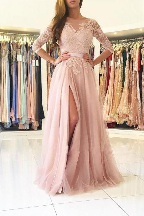 Stylish A-Line Bateau Long Sleeves Split-Front Light Pink Tulle Long Prom/Evening Dress with Lace