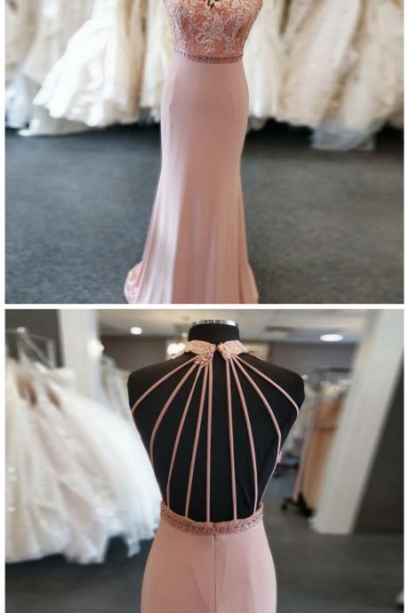 Mermaid Round Neck Sweep Train Pink Beaded Prom Dress with Lace