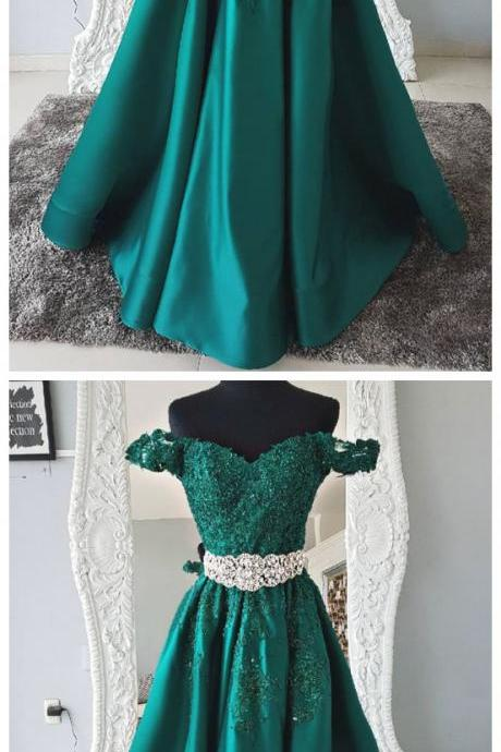 Green Lace Off Shoulder Prom Dress,Sweetheart Applique Evening Dress