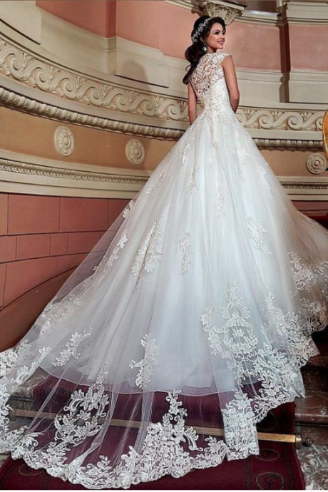 Fabulous V Neckline Wedding Dresses,A-Line Wedding Dress With Lace Appliques ,3D Flowers Beadings Wedding Dress, Sexy Wedding Gown ,High Quality ,Sweep Train Bridal Dresses