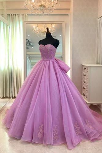 Sweetheart neck lavender tulle Prom Dress,formal prom gown, long evening dress with bow knot, Long Prom Dresses