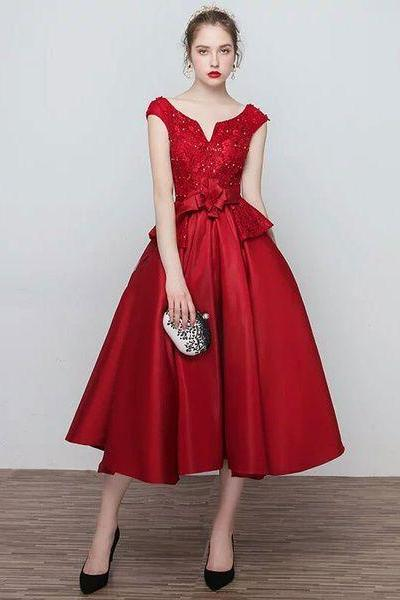 Elegant A Line Prom Dresses, Satin Red Applique Lace Evening Party Dress ,Sexy Formal Evening Dress,Custom Made Evening Dress